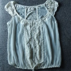 Abercrombie & Fitch Battenberg lace sheer top M